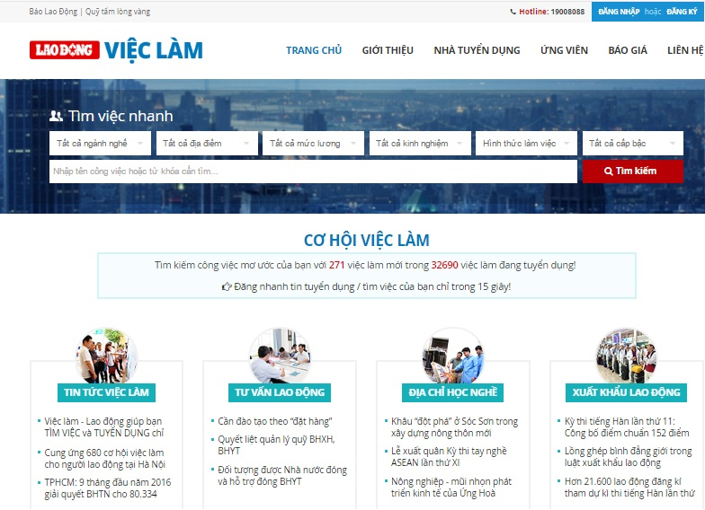 Thiết kế web việc làm tuyển dụng